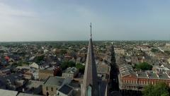 Aerial view circling Jackson Square from Mississippi river to downtown - stock footage