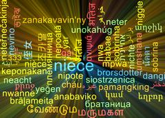 Niece multilanguage wordcloud background concept glowing Stock Illustration