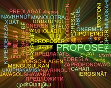 Propose multilanguage wordcloud background concept glowing - stock illustration