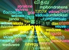 Widow multilanguage wordcloud background concept glowing - stock illustration