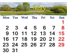 calendar for May 2016 on the background of spring - stock illustration