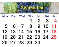 Stock Illustration of calendar for September 2016 with the grapes