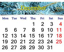 Stock Illustration of calendar for December 2016 with picture of spruce