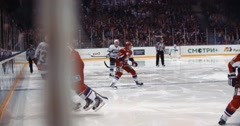 "YAROSLAVL, RUSSIA - MARCH 3: Professional hockey action on KHL match ""Lokomotiv Stock Footage"