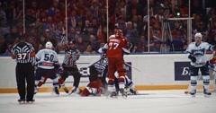 YAROSLAVL, RUSSIA - MARCH 3: Kronwal in action against Yalaswara KHL match Stock Footage