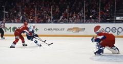 "YAROSLAVL, RUSSIA - MARCH 3: goal on KHL match ""Lokomotiv""-""Dinamo"" (Moscow) at Stock Footage"