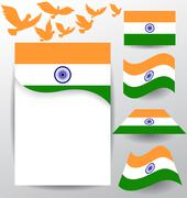 Set of India flag  with flying pigeon Stock Illustration