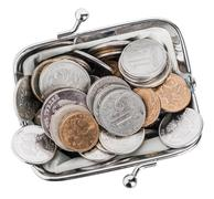 purse filled with metal rubles isolated on a white background - stock photo