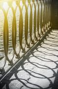Detail of the an embankment railing - stock photo