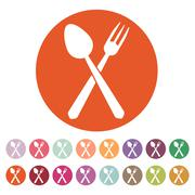 The spoon and fork icon - stock illustration