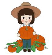 Planter harvest pumpkins Stock Illustration