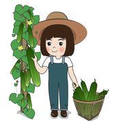 Planter harvest cucumber Stock Illustration