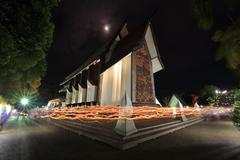 LIGHT WAVING RITE in Sala Loi Temple churches Stock Photos