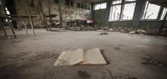Chernobyl - Book in abandoned school Stock Photos
