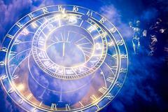 Prague astronomical Clock on  the Old Town Hall Stock Photos