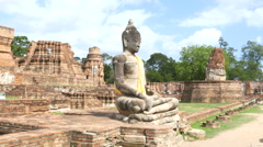 Footage travel in the main attractions history of Wat Mahathat Stock Footage