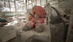 Chernobyl - Teddy bear in abandoned kindergarten - stock photo