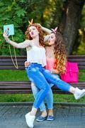 Best girlfriends. Group selfies. - stock photo