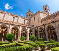 View of the cloister of Monastery of Santa Maria de Santes Creus, Catalonia Stock Photos