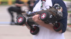 College university students autonomous robotics competition and races - stock footage
