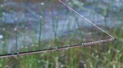 Bite fish feeder rod Stock Footage