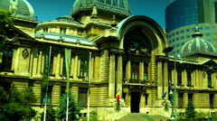 Bucharest, Romania July2015,CEC Palace,Pan Stock Footage