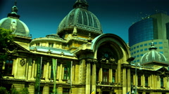 Bucharest, Romania July 2015,CEC Palace,Zoom Out, Tilt Stock Footage