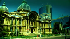 Bucharest, Romania July 2015,CEC Palace,Zoom In, Tilt Stock Footage