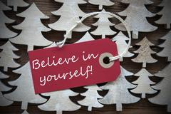 Red Christmas Label With Believe In Yourself Stock Photos