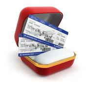 Boarding pass air tocket in gift box. Stock Illustration