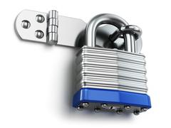 Padlock hanging on lock hinge. Security concept. Stock Illustration