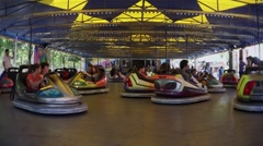 Bumper Cars Time Lapse in Theme Park - 60fps Stock Footage