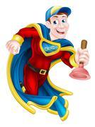 Superhero Plunger Man - stock illustration