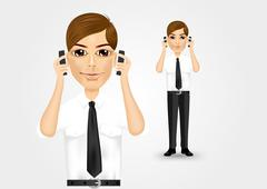 businessman talking on two cell phones - stock illustration