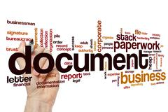 Document word cloud concept Stock Photos
