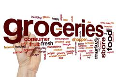 Groceries word cloud concept - stock photo
