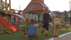 Kids, Children at The Playground, Yard, Playing, Running by Green Grass, - stock footage