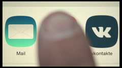 Compilation of buttons touching on iPad display Stock Footage