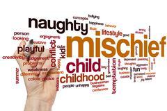 Mischief word cloud - stock photo