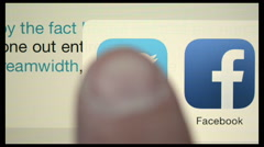 Compilation of twitter buttons on iPad display Stock Footage