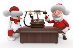 Santa Claus and snowman with phone - stock illustration