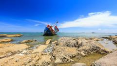 decay rusty old ship, abandoned ship in blue sky - stock footage
