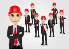 Construction engineer worker builder set Stock Illustration