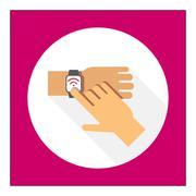 Touching smartwatch display - stock illustration
