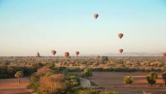 Bagan Sunrise Baloons Time Lapse Stock Footage