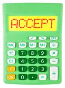 Calculator with ACCEPT on display isolated Stock Photos