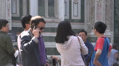 Asian people watching at the Cathedral of Florence Stock Footage