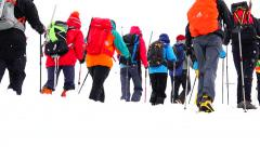 The mountains. Day five climbers train. Elbrus. Eco travel. Stock Footage