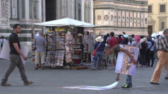Stock Video Footage of Street sellers at the Cathedral of Florence