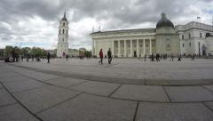 Vilnius Cathedral Square, Palace of Grand Dukes and people, Lithuania Stock Footage
